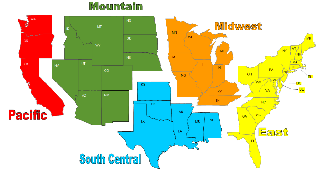 Frontier Weather Inc - 5 us regions map